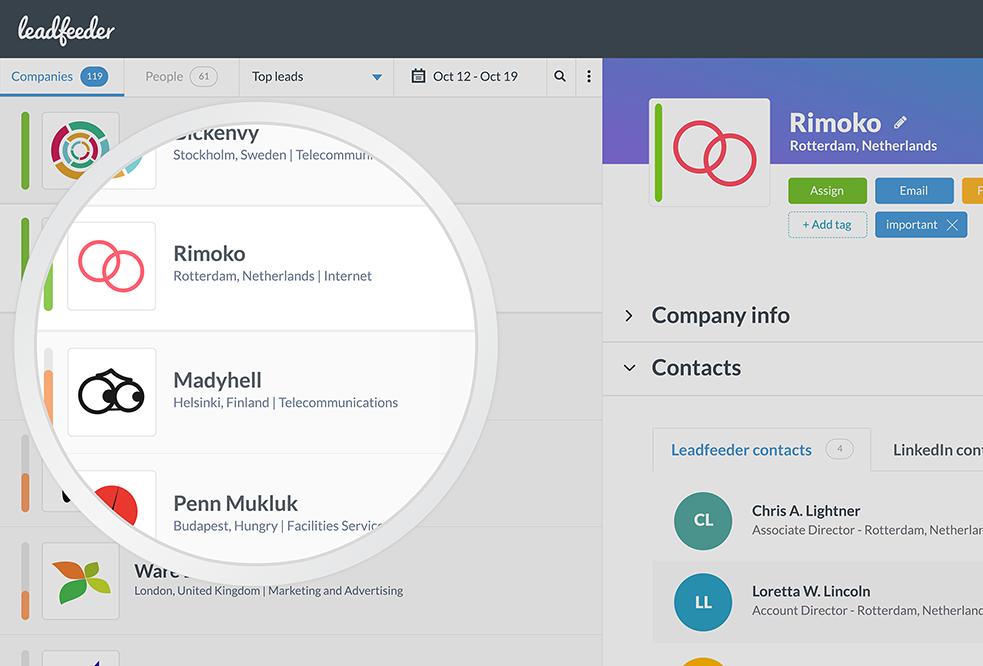 Leadfeeder para rastrear empresas